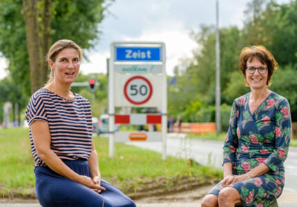 Katharina Casse en Wilma de Groot van Samen voor Zeist op de Utrechtseweg in Zeist mede initatiefnemers van Ondernemend in Zeist